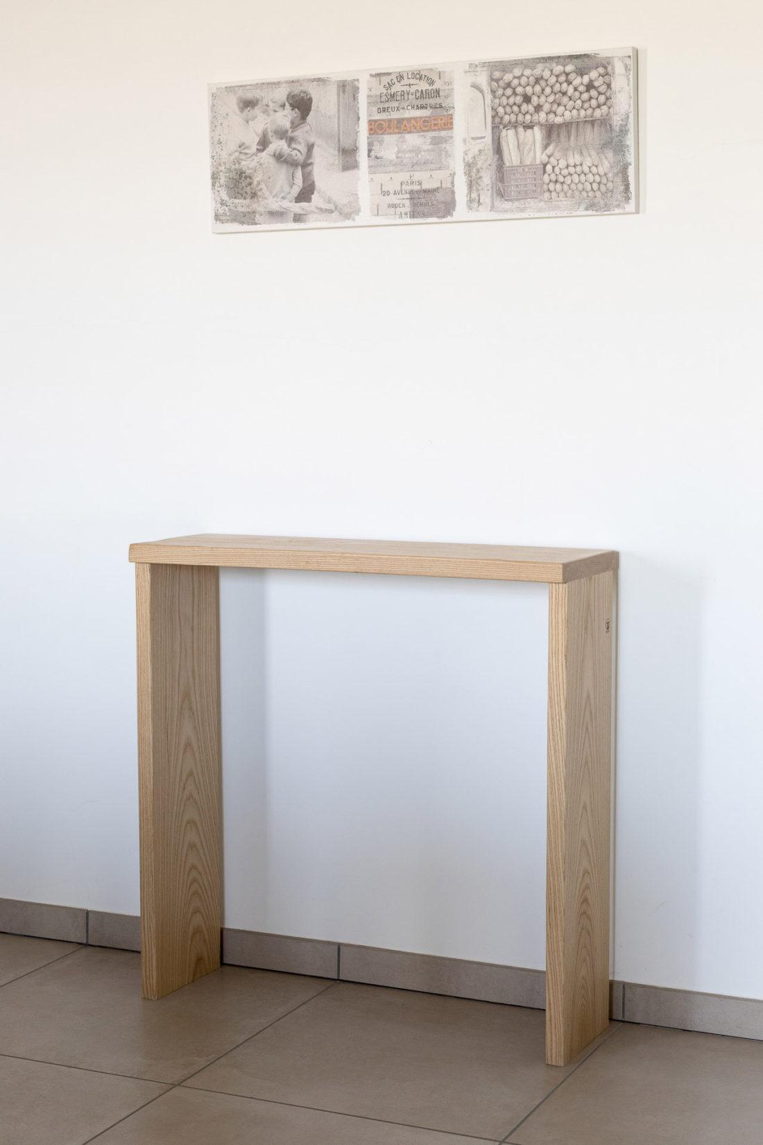 Consolle moderna legno massello frassino naturale