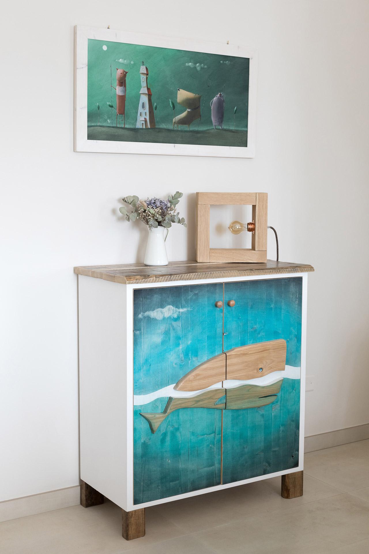 mobile artistico da ingresso dipinto a mano piano legno massello