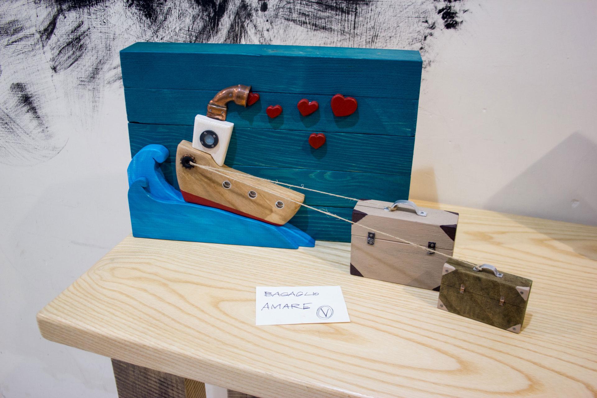 Bagaglio Amre legno quadro nave con bagagli