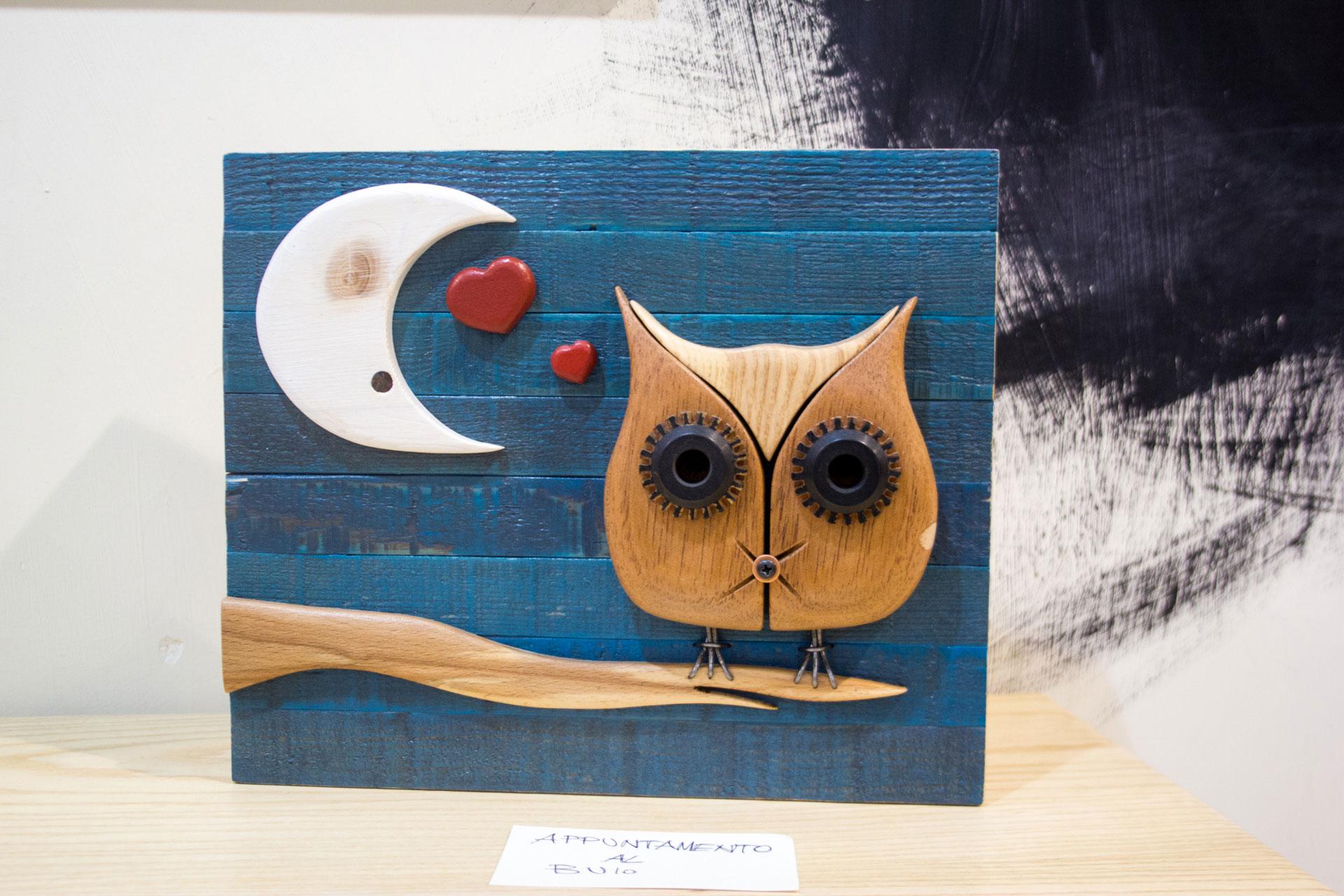Appuntamento al Buio legno quadro gufo con luna