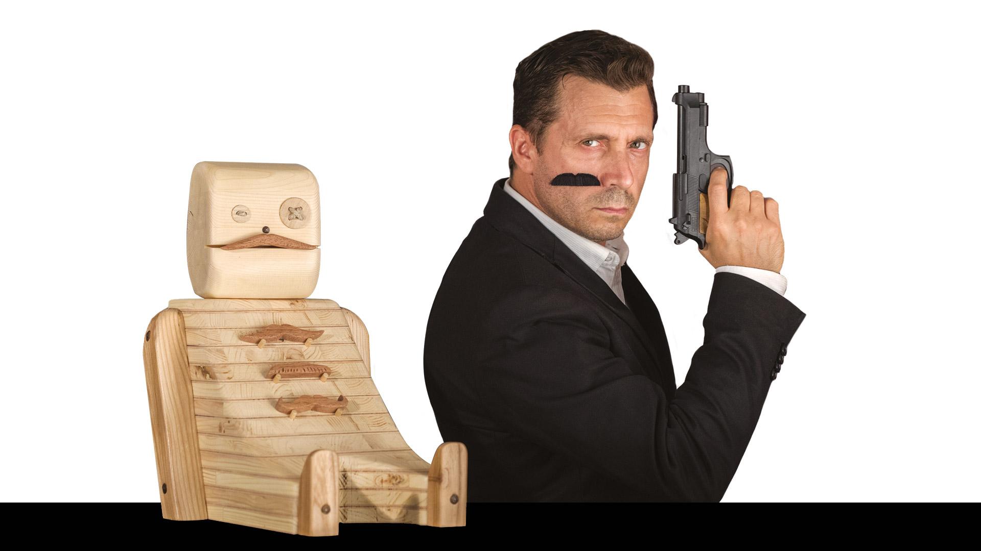 Pupezzo di legno 004 agente segreto
